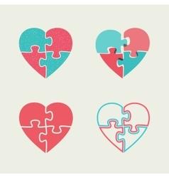 Puzzle hearts vector image