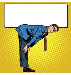 Retro businessman bent under billboard vector