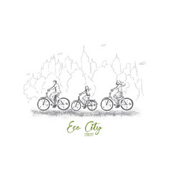 riding bicycles through park spending weekend vector image