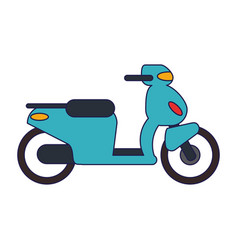 Scooter motorcyle vehicle blue lines vector