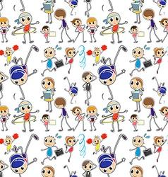 Seamless kids doing different activities vector image