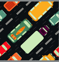 seamless pattern with car top view vector image