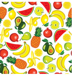 Seamless pattern with fruits avocado watermelon vector