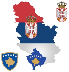 Serbia and Kosovo Flag vector