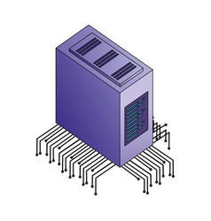 server data center with electronic circuit vector image