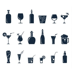 Set black flat icons about beverage vector