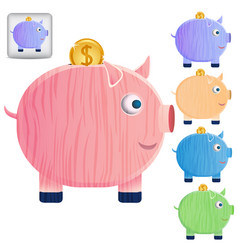 set of beautiful piggy banks vector image