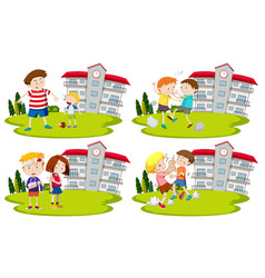 Set of bullys and kids vector