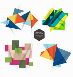 set of design with geometric elements vector image
