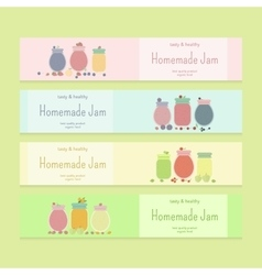 Set of flyer templates with fruit jam vector