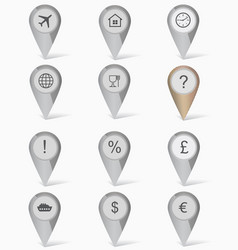 set of markers with icons vector image