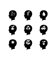Set of people head icon thinking of the vector