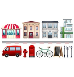 Set of stores and transportations vector image