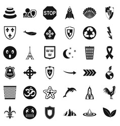 Shield emblem icons set simple style vector