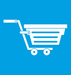 Shopping basket on wheels icon white vector