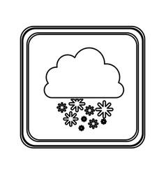 Silhouette emblem cloud snowing icon vector