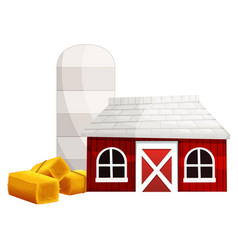 Silo and red barn vector