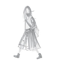 sketch silhouette of hipster girl with long hair vector image