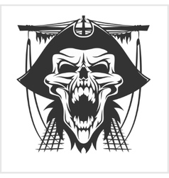 Skull pirate in hat vector