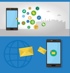 Smartphone and social media vector