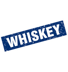 Square grunge blue whiskey stamp vector