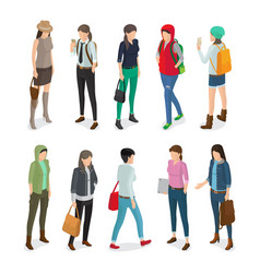 Student or college girl cartoon characters set vector