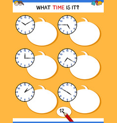 Telling time with clock face educational task vector