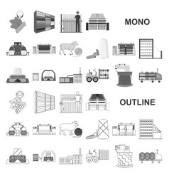 Textile industry monochrom icons in set collection vector