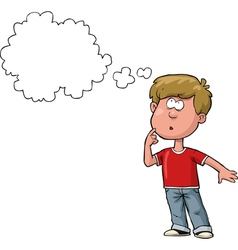 thought boy in a red t shirt vector image