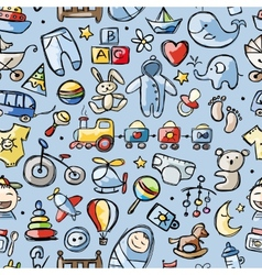 Toys for baby boy seamless pattern for your vector