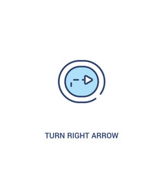 Turn right arrow with broken line concept 2 vector