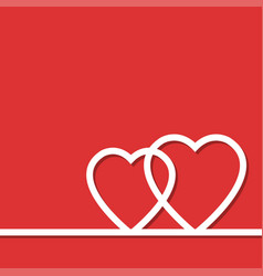 two whate hearts on red vector image