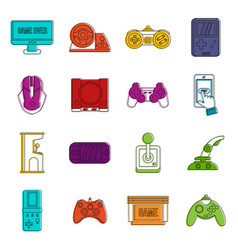 video game set outline style vector image