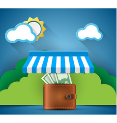 wallet money shop store icon business vector image