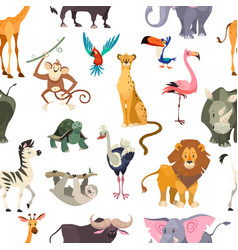 Wild animals seamless pattern african safari vector
