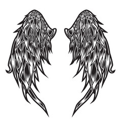Wings bird feather black amp white tattoo vector
