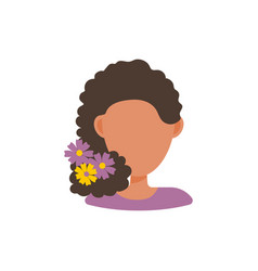 woman with flowers in hear vector image