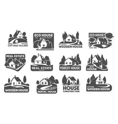 wooden eco houses real estate buildings icons vector image