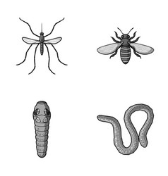 Worm centipede wasp bee hornet insects set vector