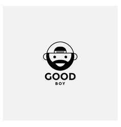 Young man face with beard and hat logo design vector
