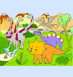 cartoon for children dinosaurs in nature vector image