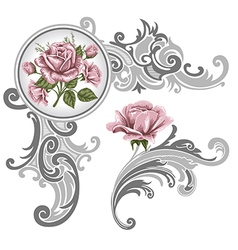 Corner piece ornament of roses vector image vector image