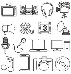 Entertainment line icons set vector image