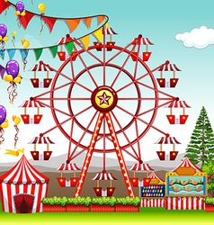 Ferris wheel at the amusement park vector image vector image