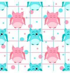 pink and blue colored smiling and winking owls vector image vector image