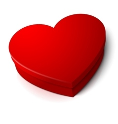 realistic blank bright red heart shape box vector image vector image
