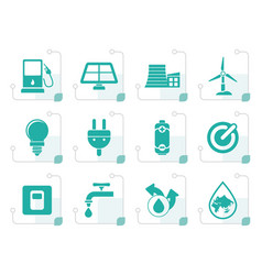 stylized ecology power and energy icons vector image