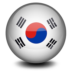 A ball with the South Korean flag vector image