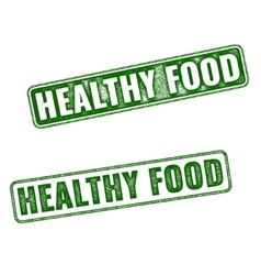 Set of green Healthy Food rubber stamp vector image vector image