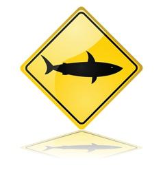 Shark warning sign vector image vector image